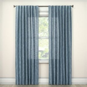 Blue Textured Weave Back Tab Window Curtain Panel